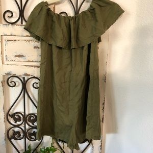 Zara olive green off shoulder romper
